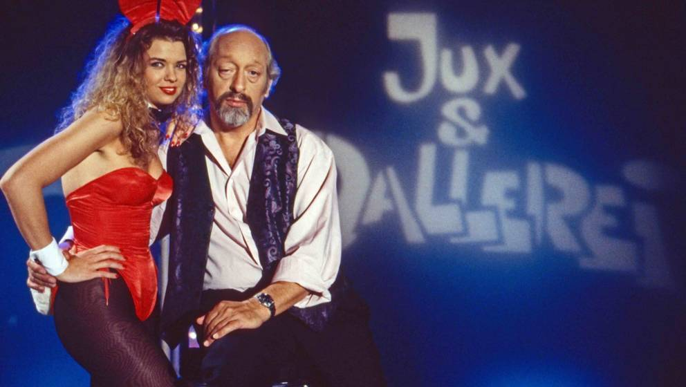 Jux und Dallerei, Comedy-Talkshow, Deutschland 1992, Moderator Karl Dall mit Bunny Sissi