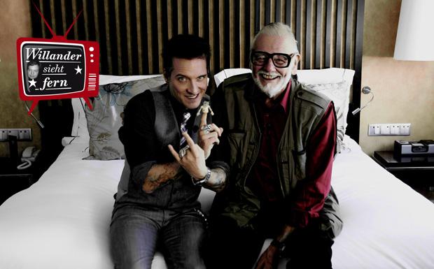 ARTE-Sendung Hotel Bela - George Romero. Bela B. (li.) und Regisseur George Romero (re.) in Romeros Hotelzimmer. © Claudia S