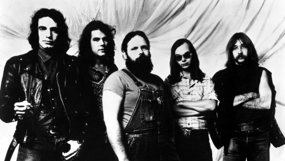 JUNE 1974:  (L-R) Donald Fagen, Jim Hodder, Denny Dias, Walter Becker and Jeff 'Skunk' Baxter of the rock and roll band 'Stee