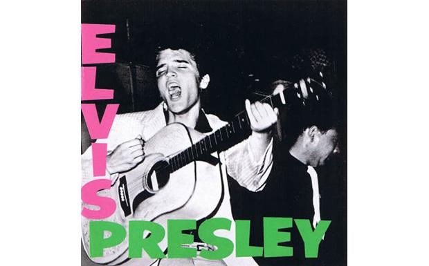 Elvis war der erste, der seinem Debütalbum diesen rosa-grünen Schriftzug verpassen lies...