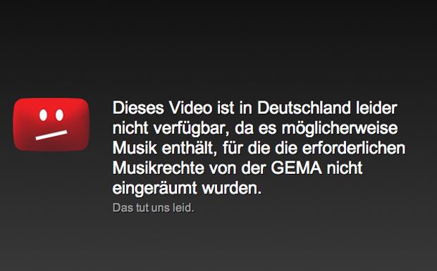 Sperrung von Musikvideos bei YouTube