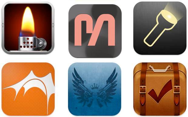 Oben: Virtuelles Feuerzeug, Melt! und Taschenlampe. Unten: Roskilde, Southside und die Packing-App.