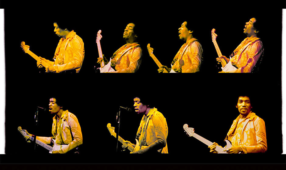 Jimi Hendrix at Fillmore East, December 31, 1969.