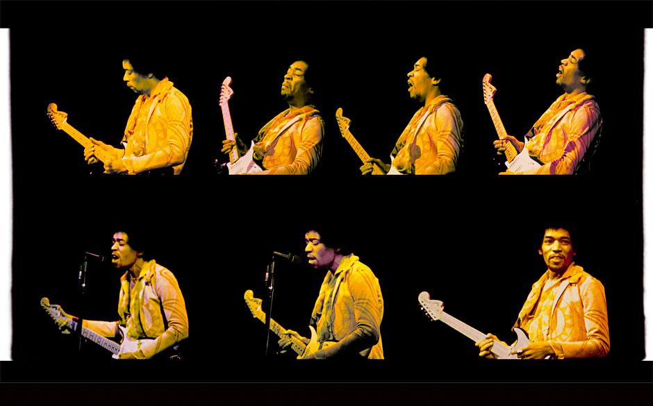 Jimi Hendrix at Fillmore East, December 31, 1969.