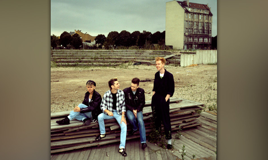 Depeche Mode, group portrait, Berlin, July 1984, L-R Martin Gore, Dave Gahan, Alan Wilder, Andrew Fletcher. (Photo by Michael