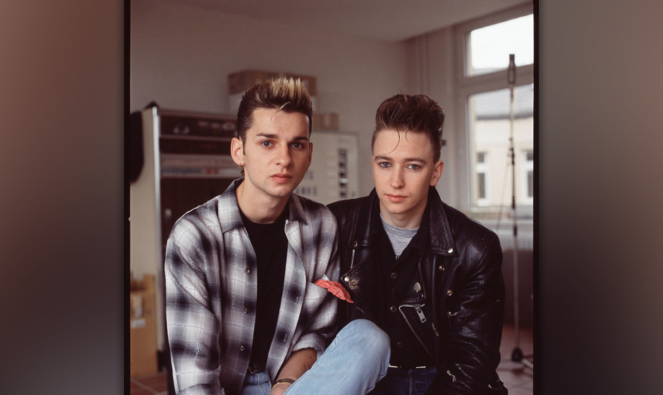 Depeche Mode in recording studio during the making of the Some Great Reward album, Berlin, July 1984, L-R Dave Gahan, Alan Wi