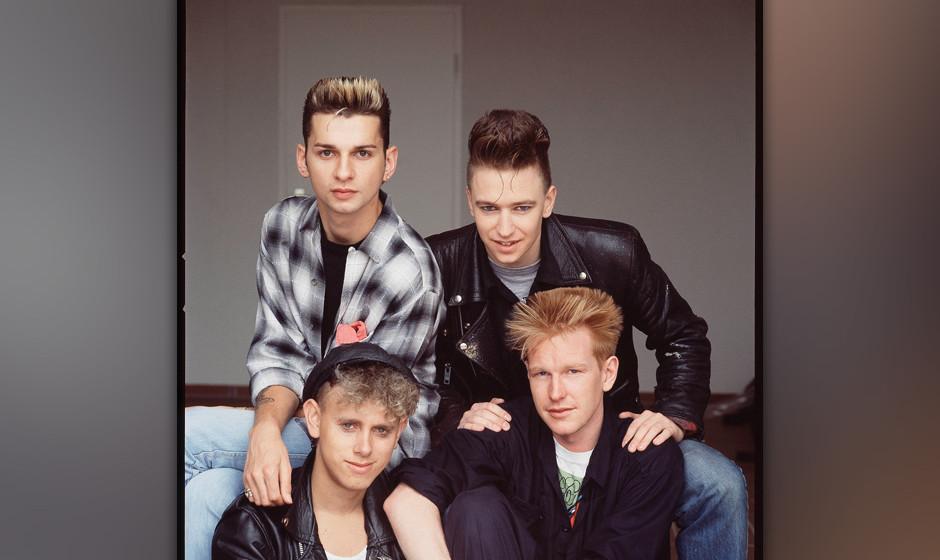 Depeche Mode, studio group portrait, Berlin, July 1984, clockwise from top left Dave Gahan, Alan Wilder, Andrew Fletcher, Mar