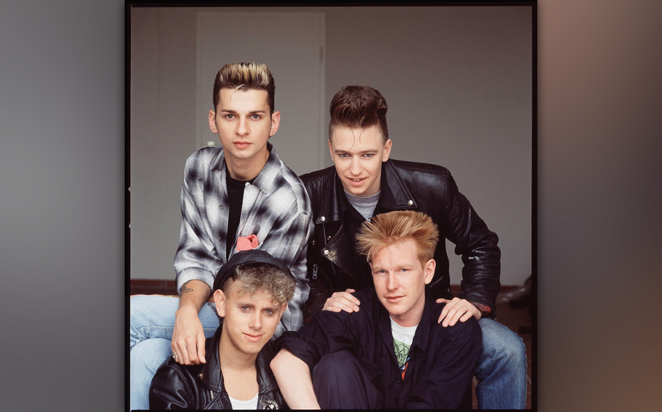 Depeche Mode, studio group portrait, Berlin, July 1984, clockwise from top left Dave Gahan, Alan Wilder, Andrew Fletcher, Mar