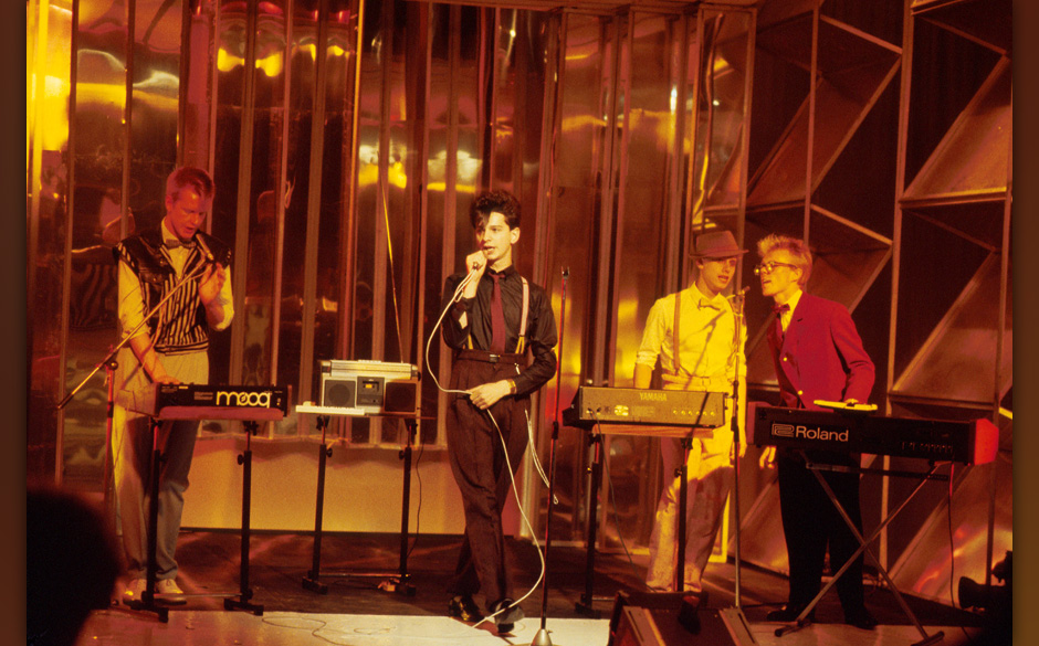 Depeche Mode appear on Top The Pops TV show, 1981, L-R Andrew Fletcher, Dave Gahan, Martin Gore, Vince Clarke. They play Rola