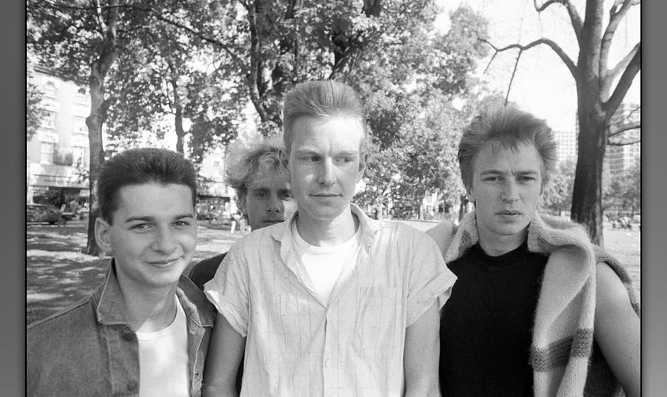 Depeche Mode, grouo portrait, Shepherd's Bush, London, 2 September 1982. Left to right: Dave Gahan, Martin Gore, Andrew Fletc