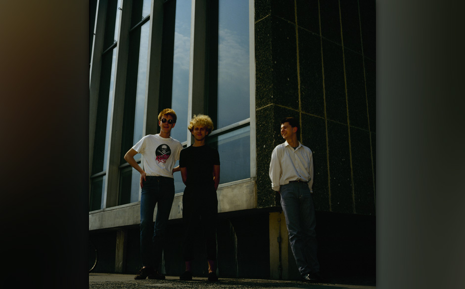 UNITED KINGDOM - JANUARY 01: Posed group portrait of British band Depeche Mode. Left to right are Andrew Fletcher, Martin Gor