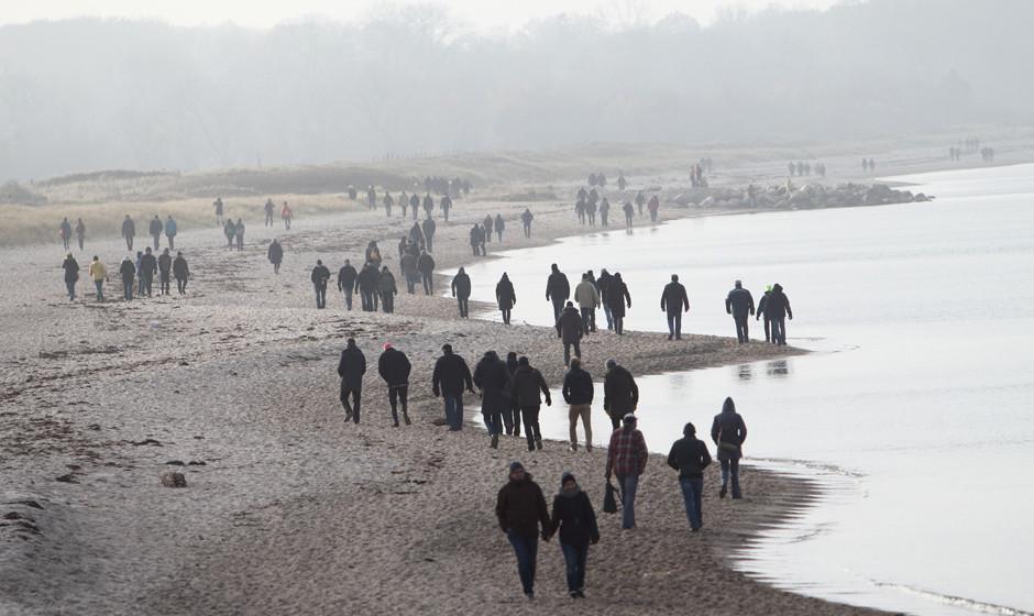 Frühmorgens hat man den Strand für sich. Später wird's voll.