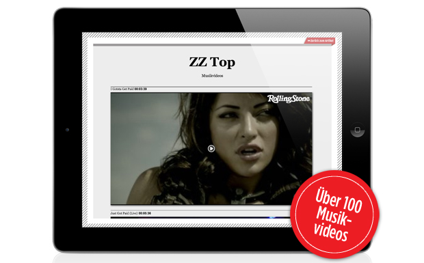 Unsere App fährt mit über 100 Musikvideos auf. Da findet man auch ein schönes von ZZ Top.