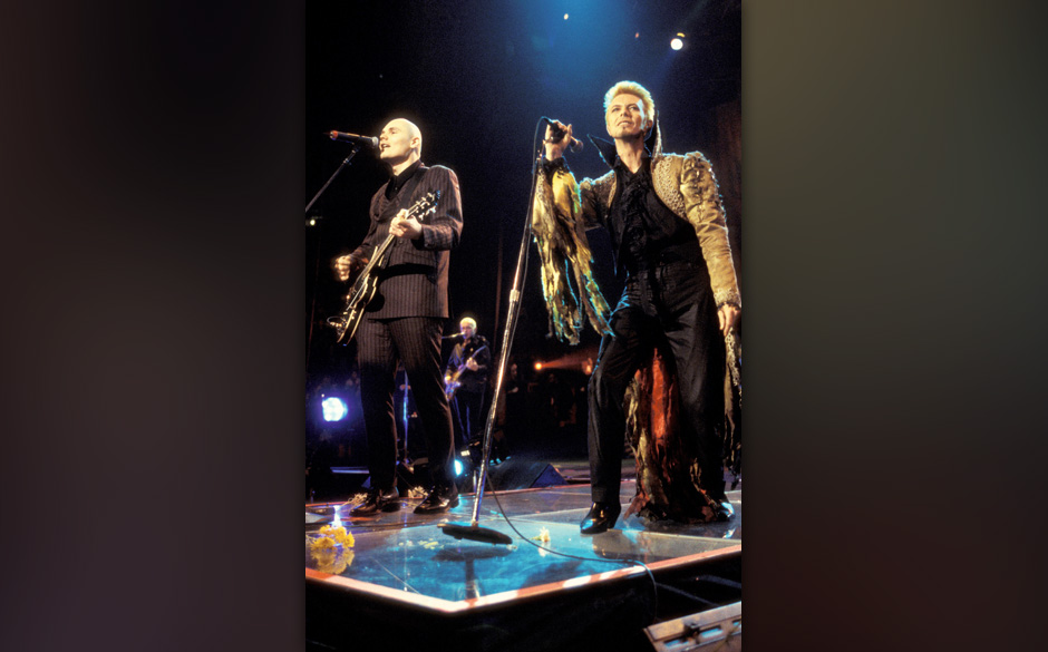 Billy Corgan and David Bowie during David Bowie's 50th Birthday Celebration Concert at Madison Square Garden in New York City