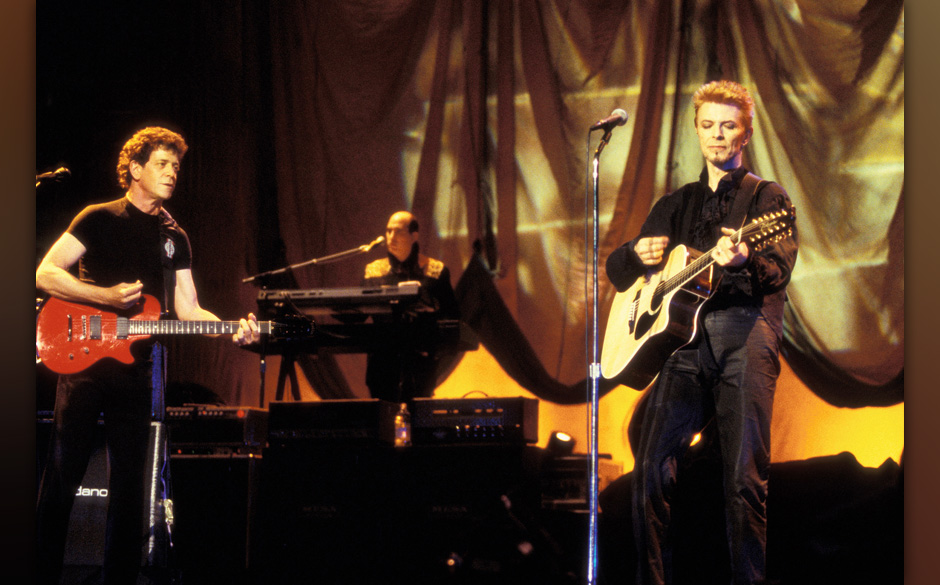 Lou Reed and David Bowie during David Bowie's 50th Birthday Celebration Concert at Madison Square Garden in New York City, Ne
