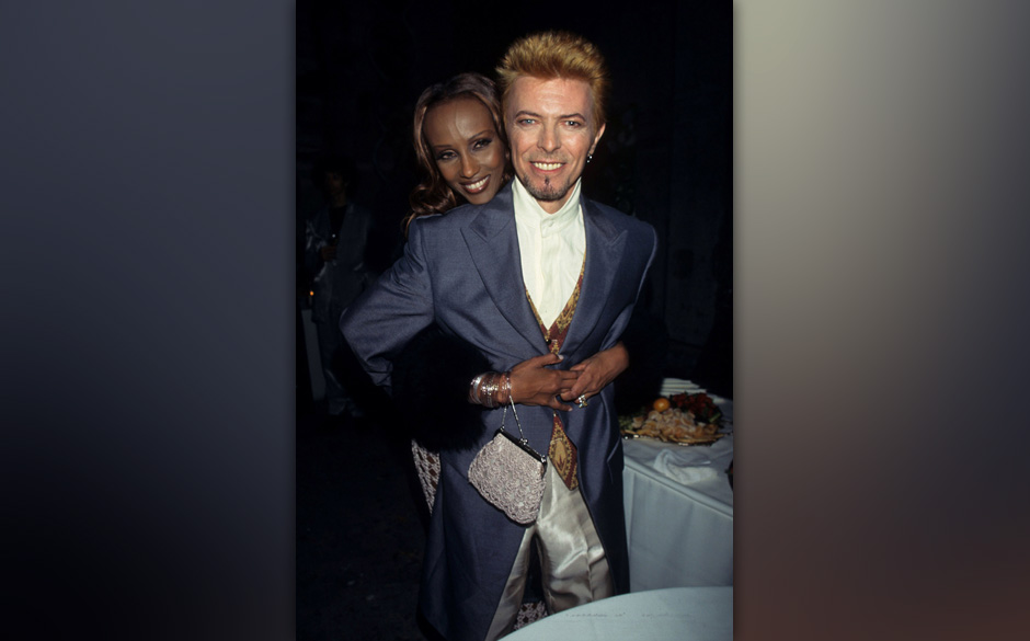 Iman and David Bowie during David Bowie's 50th Birthday Celebration Concert at Madison Square Garden in New York City, New Yo