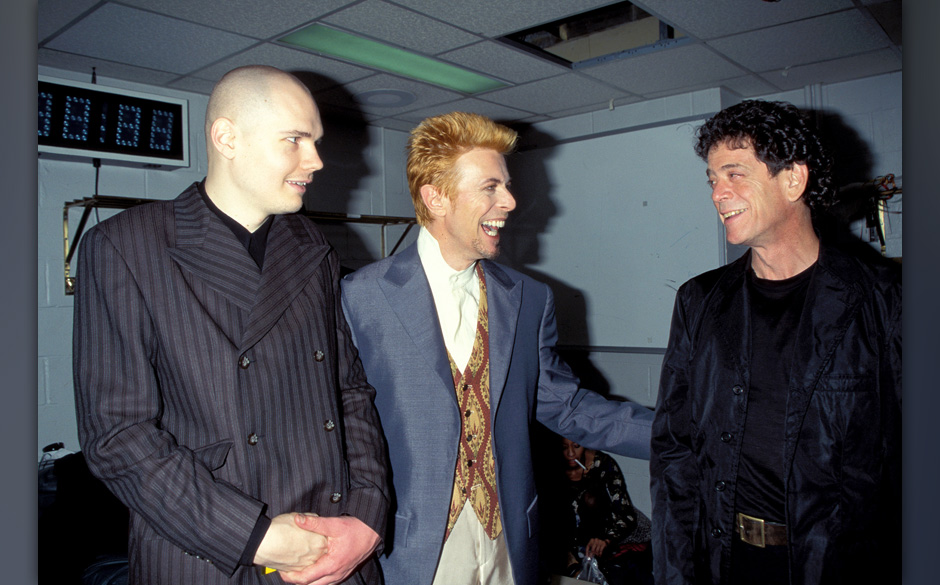 Billy Corgan, David Bowie and Lou Reed (Photo by KMazur/WireImage)