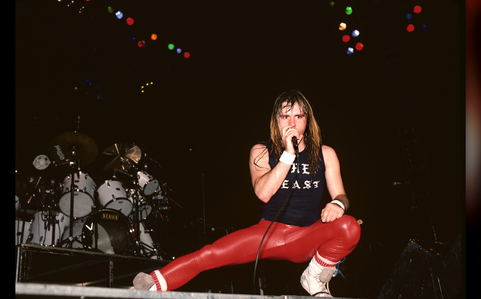Bruce Dickinson performing with Iron Maiden at Madison Square Garden in New York City on October 2,1982.