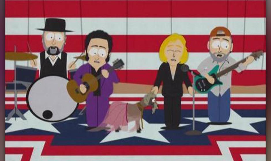 Fleetwood Mac mit Stevie Nicks (vorn im Bild als Ziege)