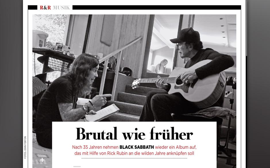 Black Sabbath feiern ein Comeback und proben auf dem Fußboden.