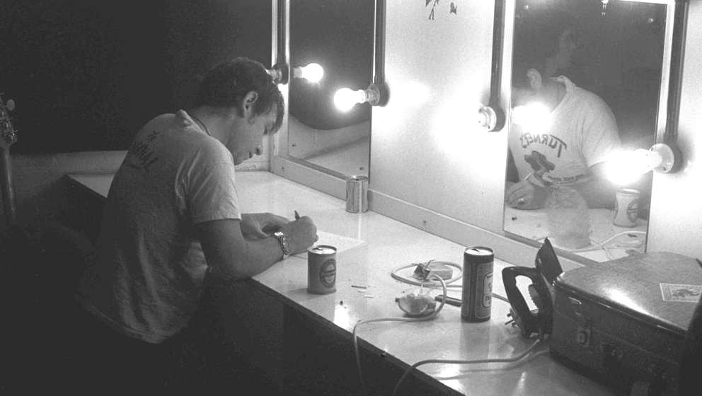 Eric Burdon backstage at the Roundhouse, London, 1976. (Photo by Vincent McEvoy/Redferns)
