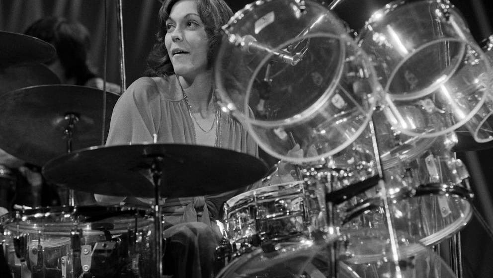 American singer and drummer Karen Carpenter (1950 - 1983), of pop duo The Carpenters, performing in, Amsterdam, Netherlands,