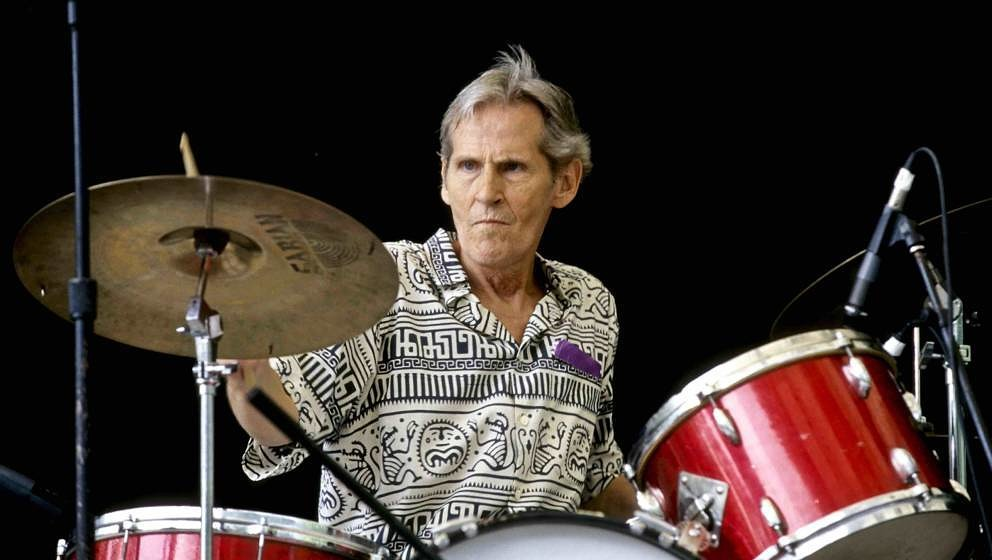 American musician Levon Helm (1940 - 2012) plays drums on Central Park's SummerStage, New York, New York, June 17, 2000. (Pho