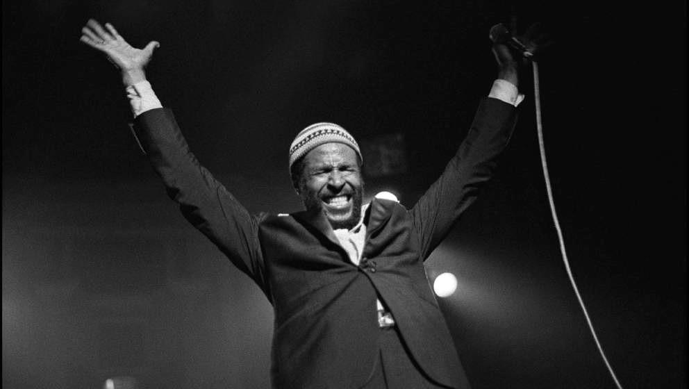 Marvin Gaye performing at the Royal Albert Hall, London, UK 25 January 1980. (Photo by David Corio/Redferns)