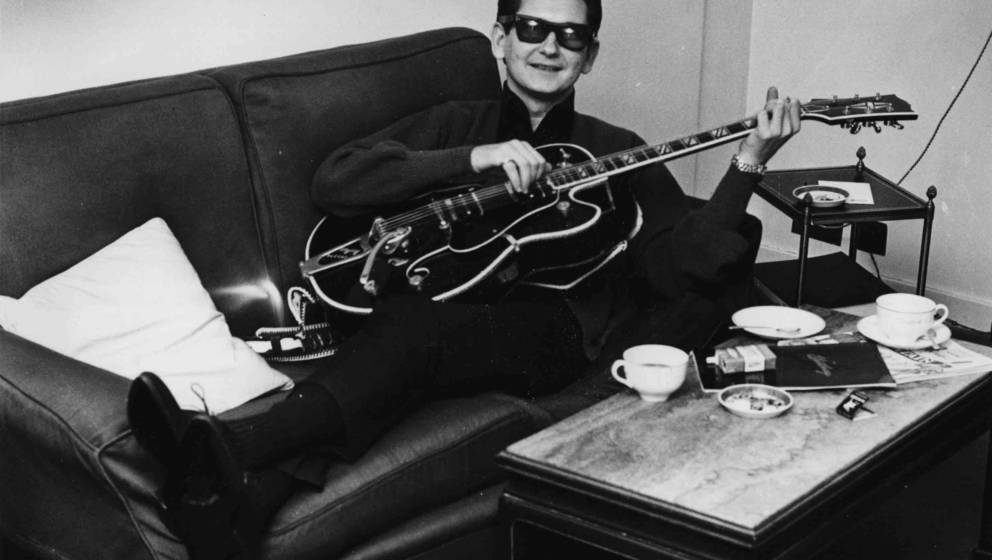 circa 1958:  Rock 'n' roll legend, singer-songwriter Roy Orbison (1936 - 1988) otherwise known as 'The Big O' - relaxes with