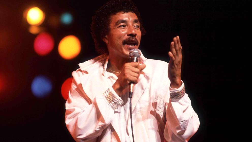 American singer Smokey Robinson performs onstage at the Aire Crown Theater, Chicago, Illinois, September 1, 1984. (Photo by P