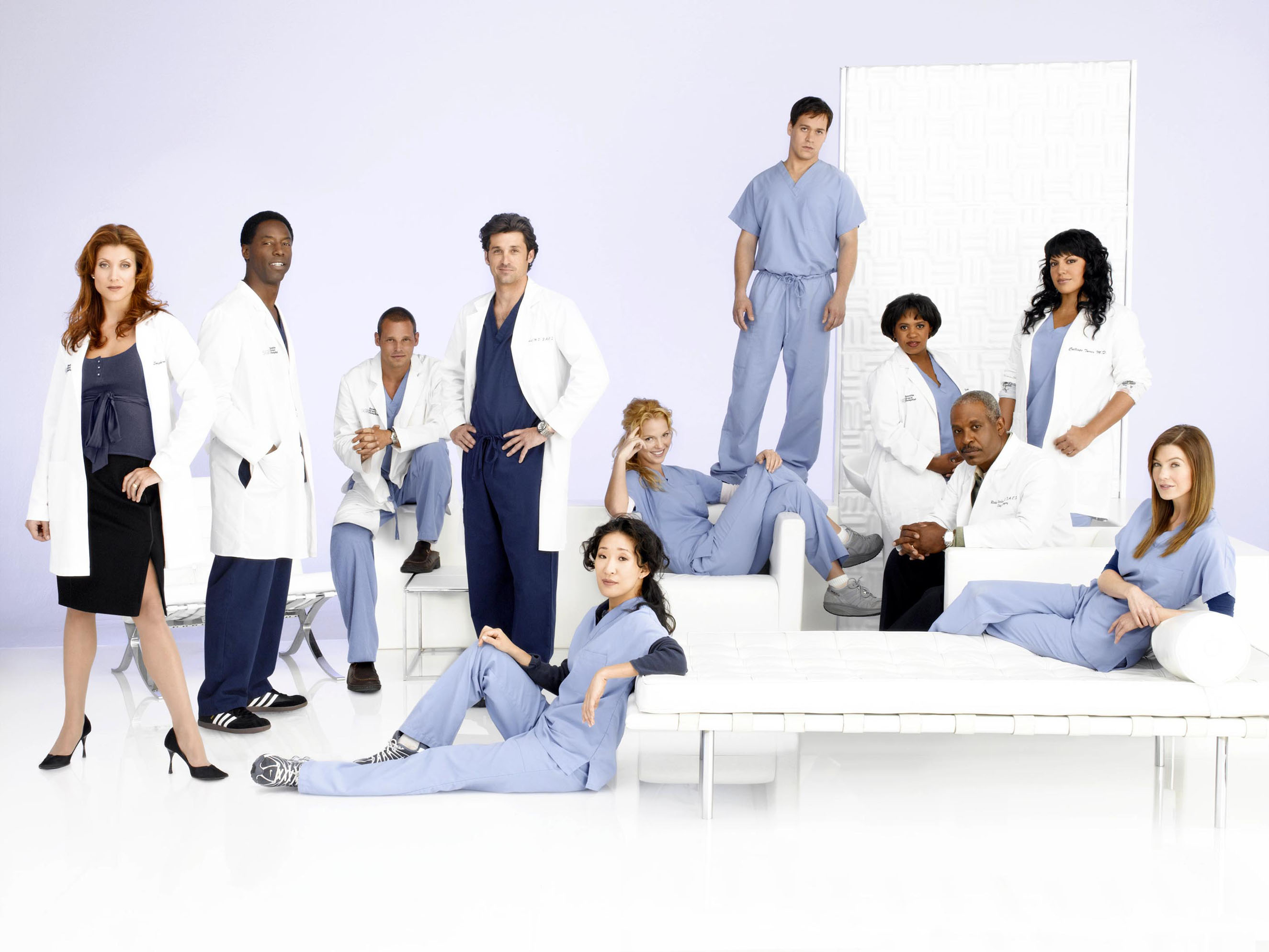 GREY'S ANATOMY [US 2005 - ]  [L-R] Kate Walsh as Addison Shepherd, Isaiah Washington as Preston Burke, Justin Chambers as Ale