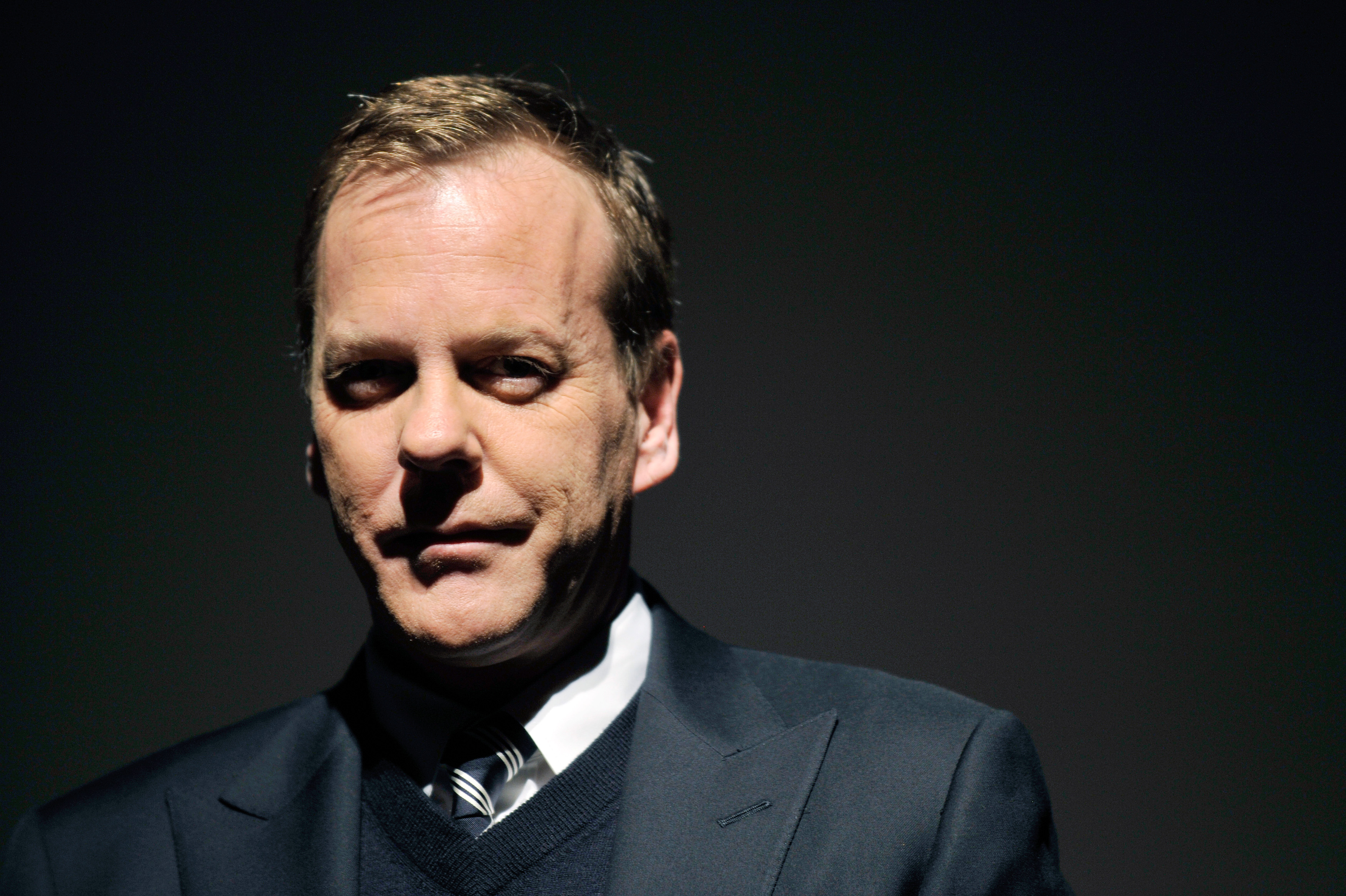 Canadian actor Kiefer Sutherland poses at a press conference for the popular U.S. TV series '24' final season in Tokyo, Novem