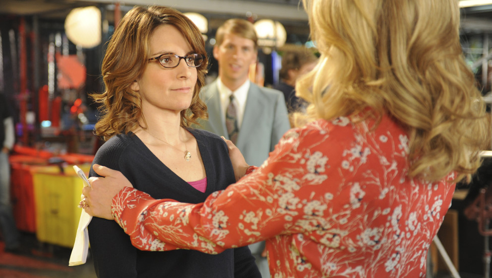This image released by NBC shows Tina Fey as Liz Lemon, left, and Jane Krakowski as Jenna Maroney in a scene from the series
