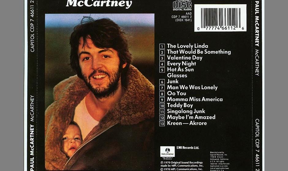 """7. Junk (Auf """"McCartney"""", 1970). Dieser Song von fast beiläufiger Schönheit und tiefer Melancholie wäre beinahe schon"""