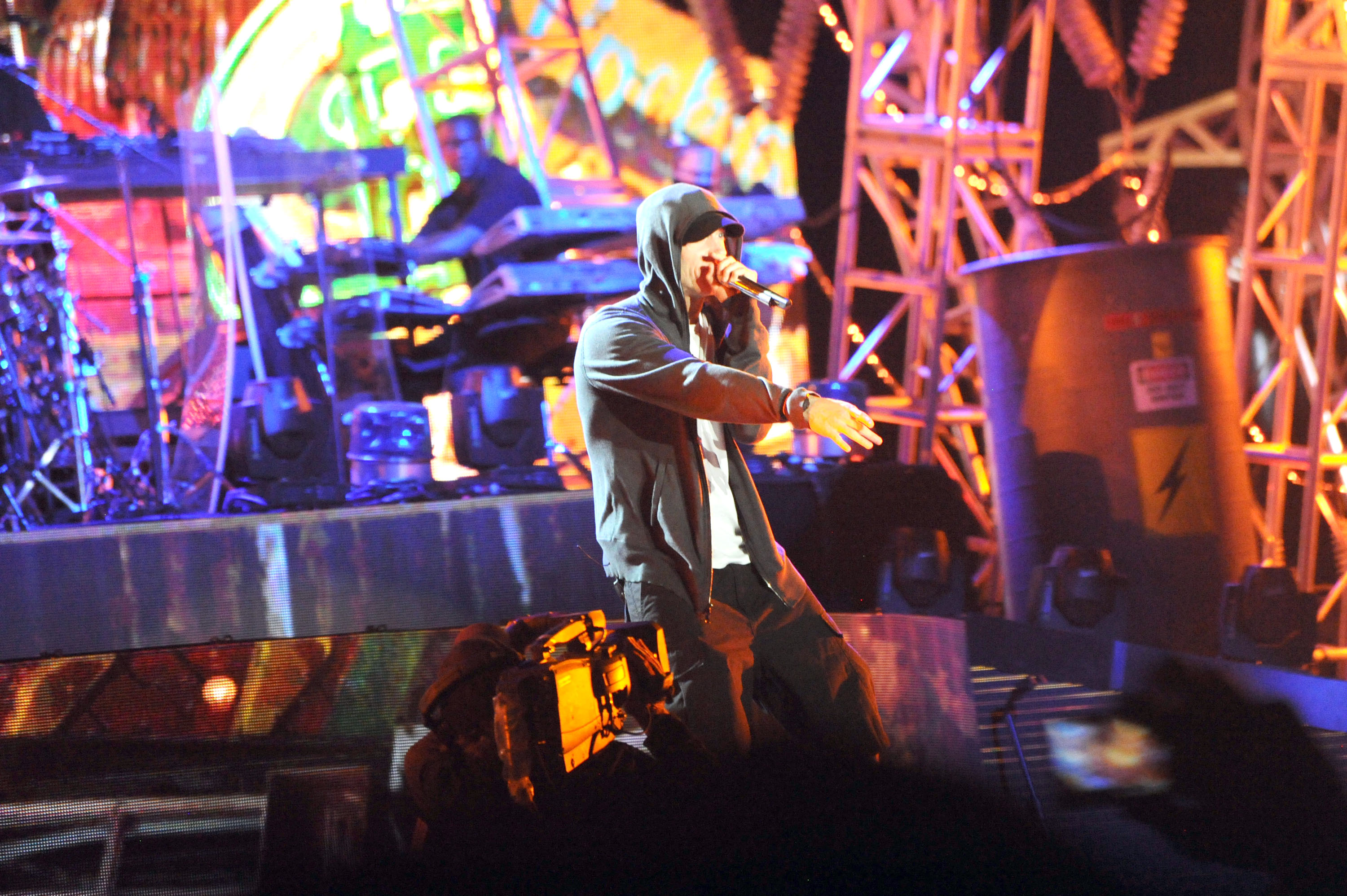 INDIO, CA - APRIL 22: Eminem performs at day 3 of the 2012 Coachella Valley Music & Arts Festival at The Empire Polo Club