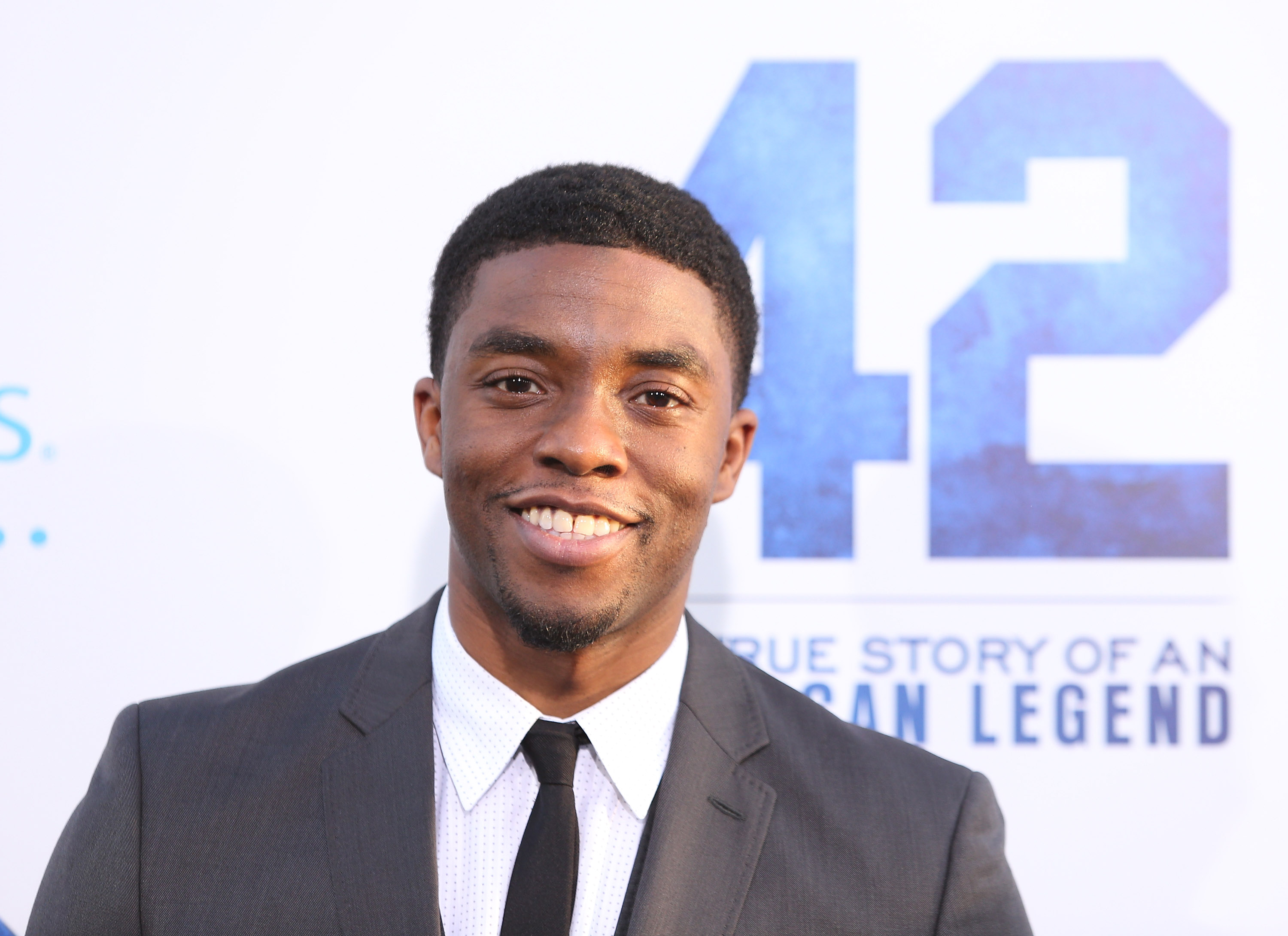 HOLLYWOOD, CA - APRIL 09:  Chadwick Boseman arrives at the Los Angeles premiere of '42' held at TCL Chinese Theatre on April