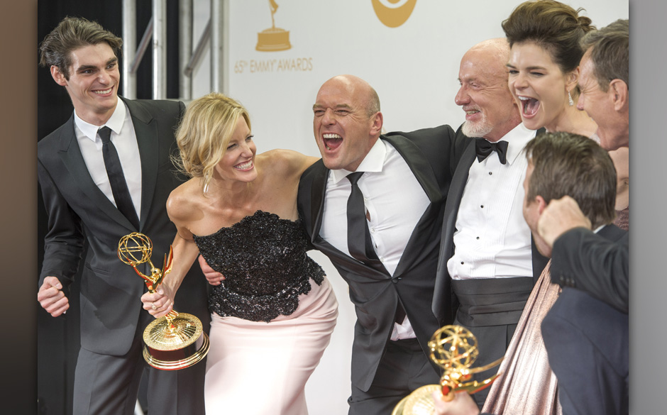 Sept. 22, 2013 - Los Angeles, California, U.S - The cast of Breaking Bad celebrates in the Press Room after winning Outstandi