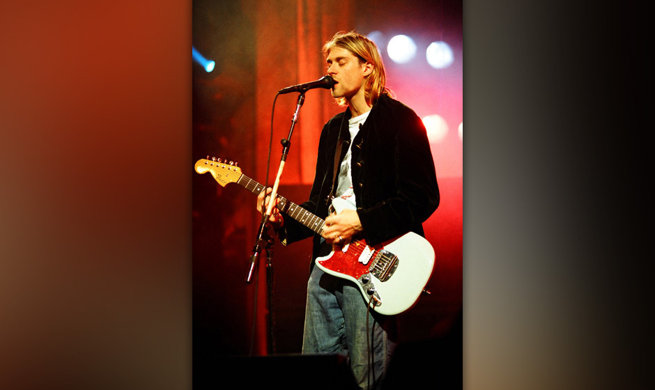 Kurt Cobain of Nirvana during MTV Live and Loud: Nirvana Performs Live - December 1993 at Pier 28 in Seattle, Washington, Uni