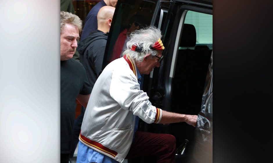 Rolling Stones am Weg zum Konzert Wien, Hotel Imperial, 16. 06. 2014 Mick JAGGER, Georgia May JAGGER, Keith RICHARDS, Ron WOO