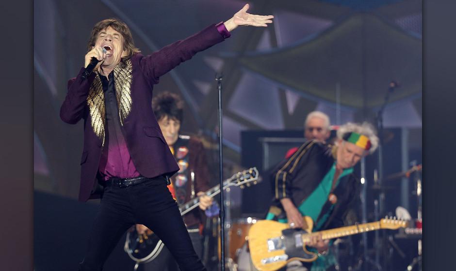 Die Rolling Stones mit Mick Jagger (l-r), Ron Wood, Charlie Watts und Keith Richards treten am 19.06.2014 in D¸sseldorf (Nor