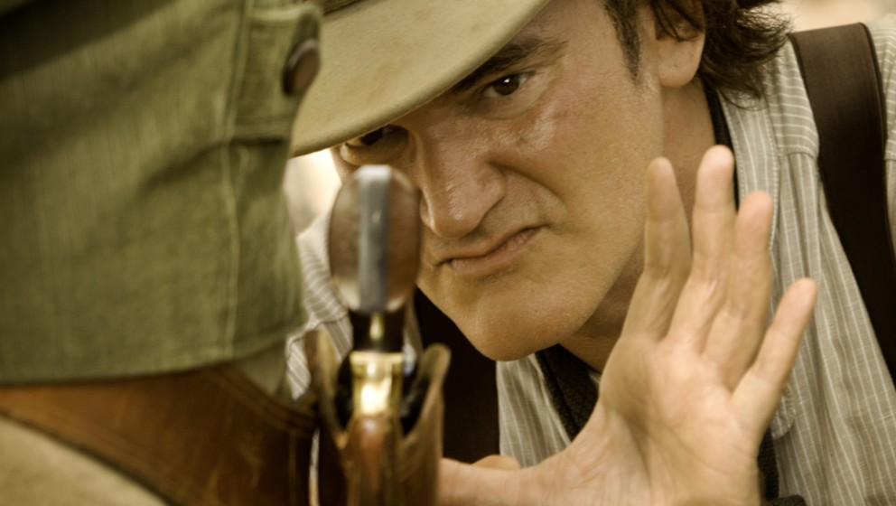 Director QUENTIN TARANTINO on the set of DJANGO UNCHAINED