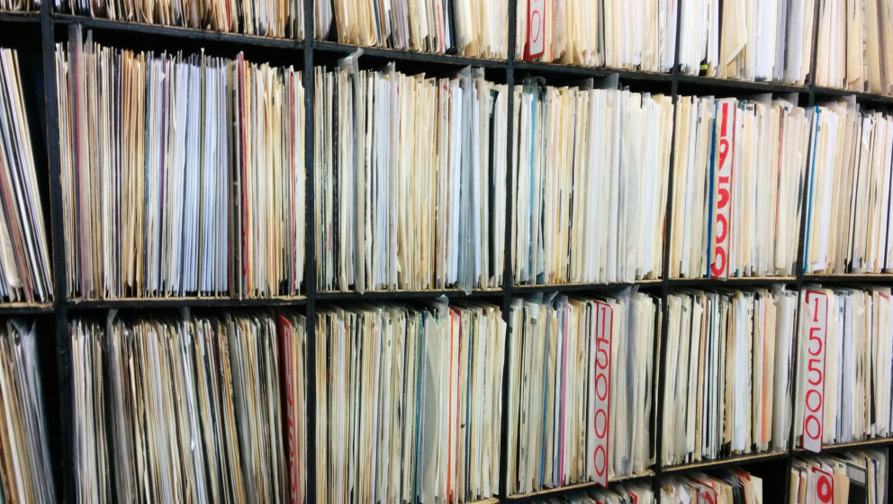 [UNVERIFIED CONTENT] LP's and 12' singles stored on shelves in record shop. London, 3rd December 2013
