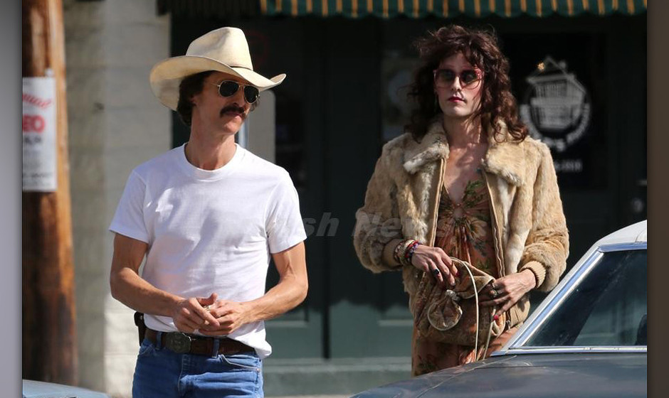 EXCLUSIVE: Matthew McConaughey and Jared Leto on set together in New Orleans. With Leto in drag and Matthew clutching a wad o