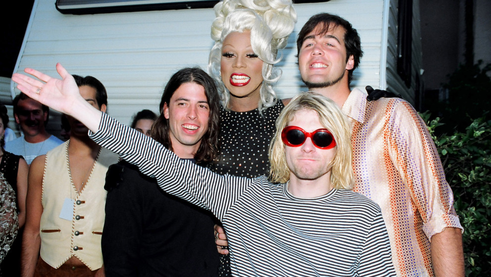 RuPaul (center) with Dave Grohl, Kurt Cobain and Krist Novoselic of Nirvana  (Photo by Jeff Kravitz/FilmMagic)