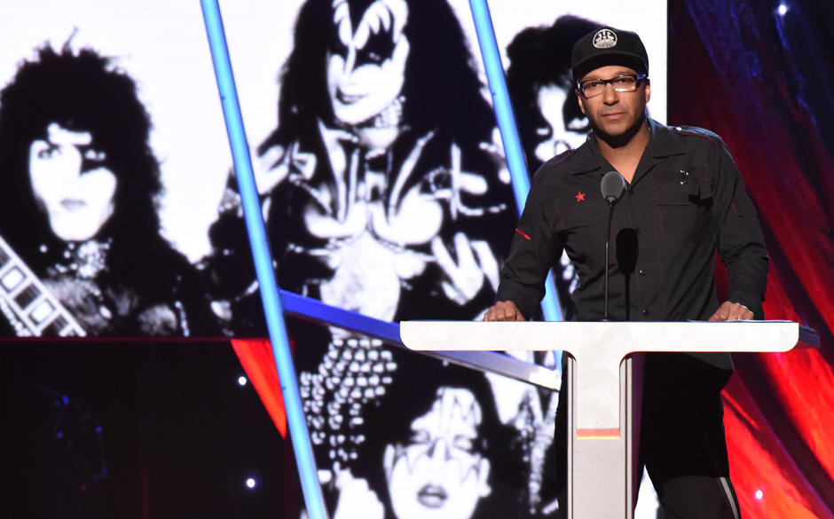 NEW YORK, NY - APRIL 10: Musician Tom Morello speaks onstage to introduce KISS at the 29th Annual Rock And Roll Hall Of Fame