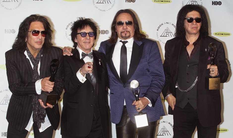 NEW YORK, NY - APRIL 10:  (L-R) Inductees Paul Stanley, Peter Criss, Ace Frehley and Gene Simmons of KISS attend the 29th Ann
