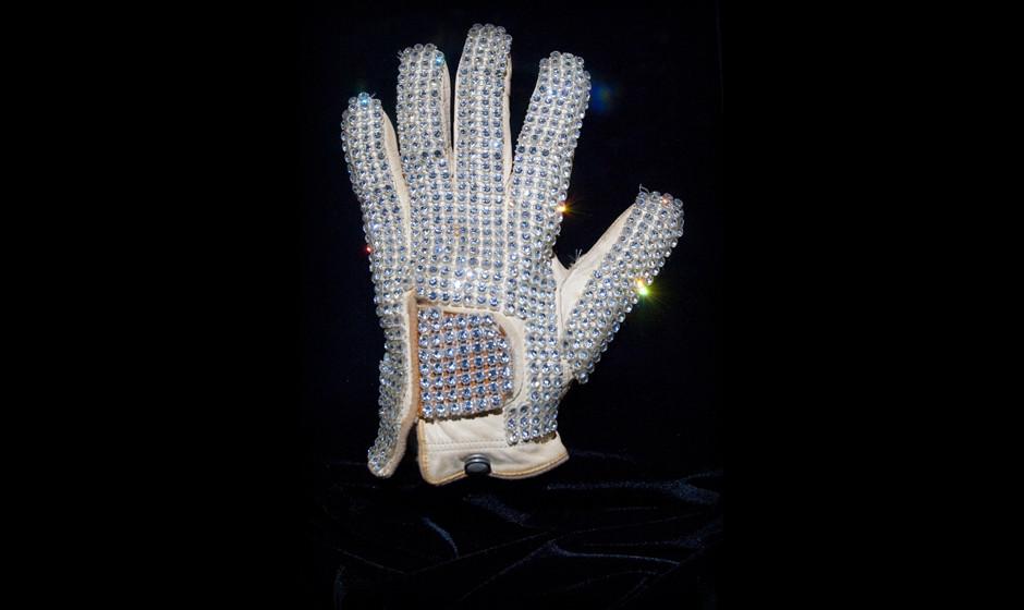 MACAU, CHINA - FEBRUARY 01:  The iconic white rhinestone glove worn by Michael Jackson at the 1983 Motown 25 Television Speci