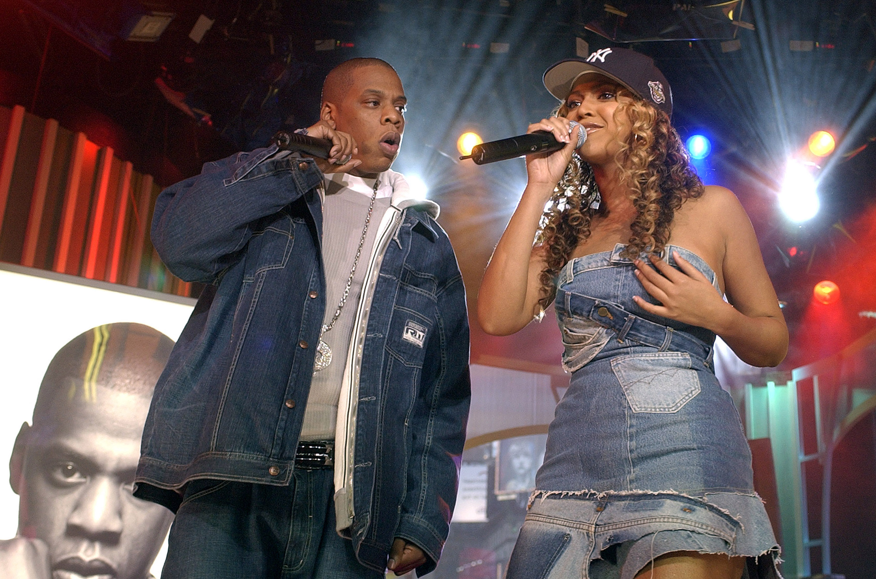 Jay-Z and Beyonce Knowles during 'Spankin' New Music Week' with Jay-Z, Beyonce Knowles and Solange Knowles on MTV's 'TRL' - N