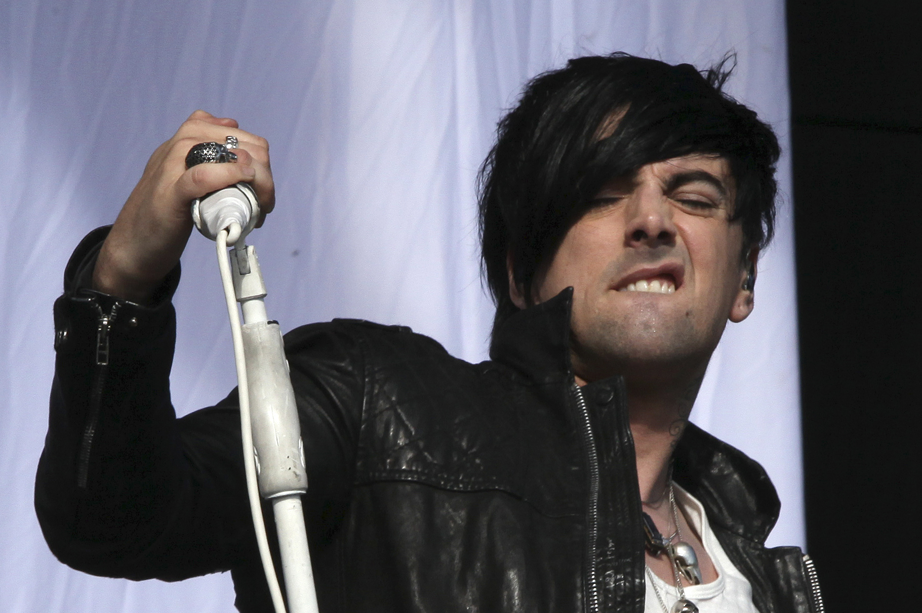FILE This is a Saturday, Aug 20, 2011 file photo of British musician Ian Watkins, lead singer of Lostprophets, as he  perform