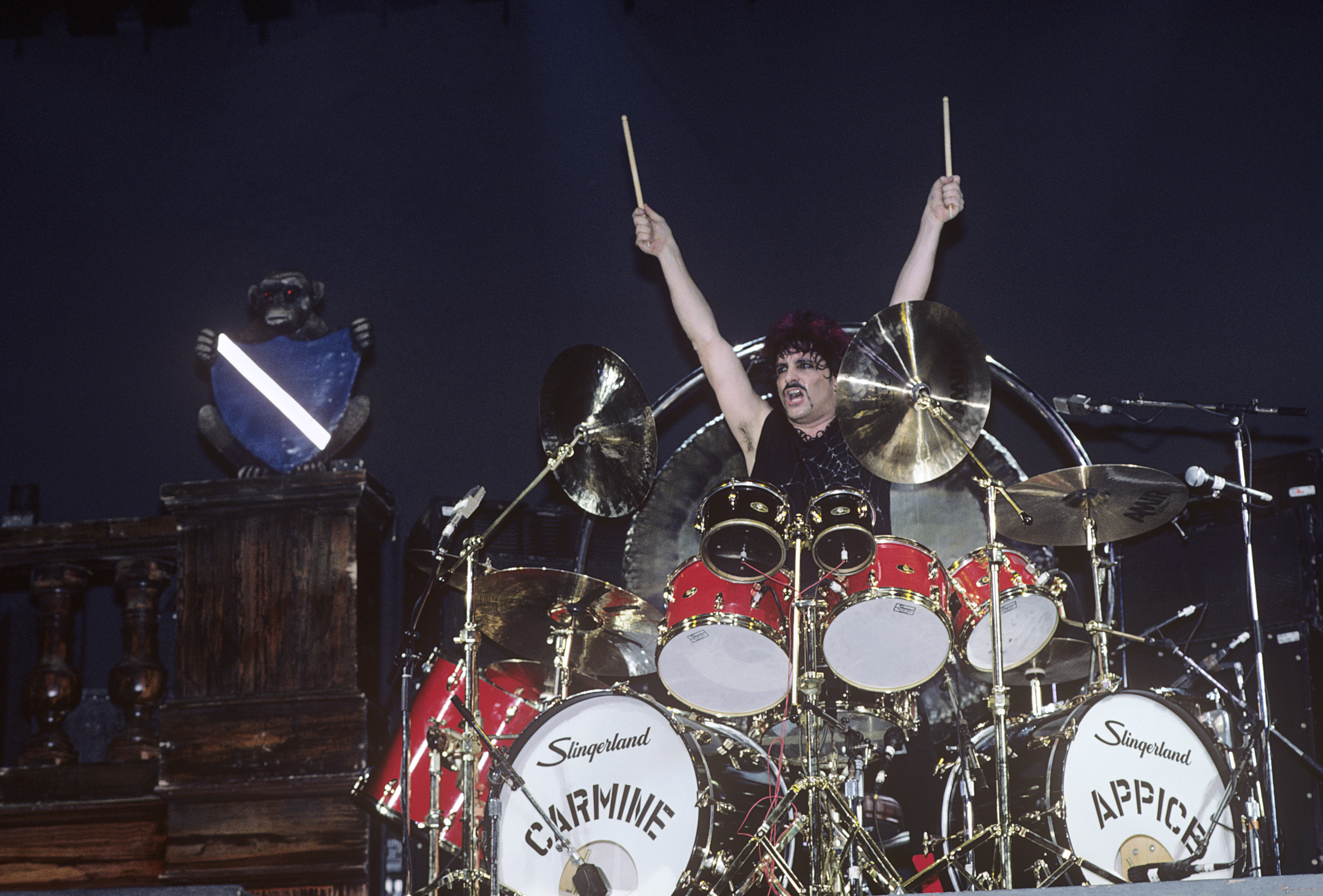 Carmine Appice performing with Ozzy Osbourne at Madison Square Garden in New York City on January 30, 1984. (Photo by Ebet Ro